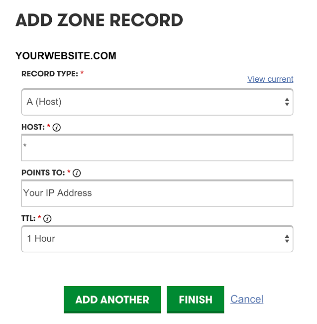 Create Dynamic Subdomains A ZONE settings add