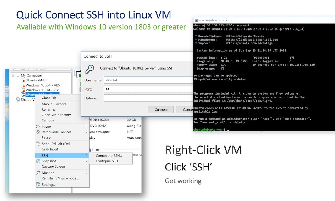 vmware workstation 15 hỗ trợ one click ssh