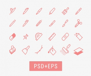 Drawing tools icons EPS(AI+PSD)