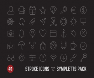 40 stroke icons from Sympletts pack (AI, PSD)