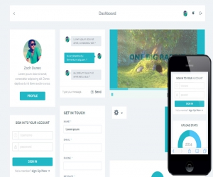 Cyan Flat UI KIT Responsive mobile web template