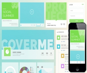Social Summer UI KIT Flat Responsive web mobile template